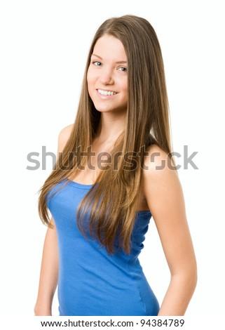 Natural beauty young woman smiling at camera - stock photo