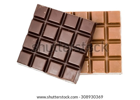 Natural black and milky chocolate bars isolated on white background, top view - stock photo