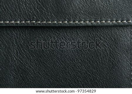 Natural black leather background closeup - stock photo