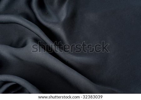 Natural Black Silk Background - stock photo