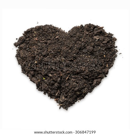 Natural black topsoil with fertile humus for planting in heart shape, Isolated soil on white background love sign