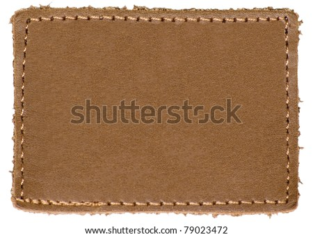 Natural Blank Beige Brown Leather Label Jeans Tag, Isolated Rustic Background