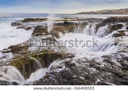 Natural blowhole on the island of Gran Canaria, Spain - stock photo