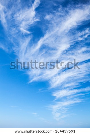Natural blue cloudy sky. Vertical background photo