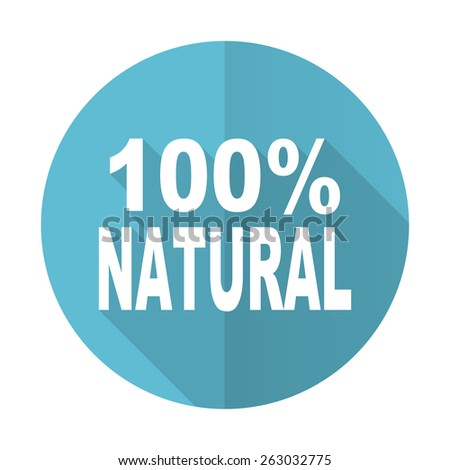 natural blue flat icon 100 percent natural sign  - stock photo