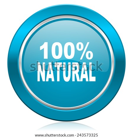 natural blue icon 100 percent natural sign  - stock photo