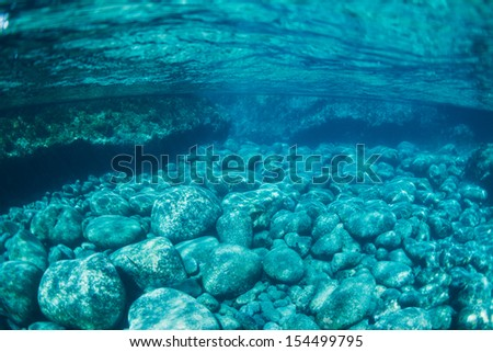 Natural Blue Water Pool, Underwater View - stock photo