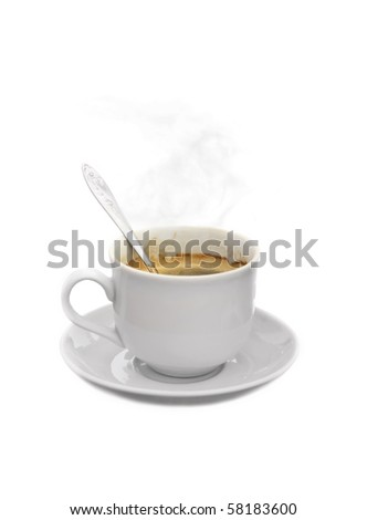 Natural brewed hot coffee in a cup with spoon isolated on white background - stock photo