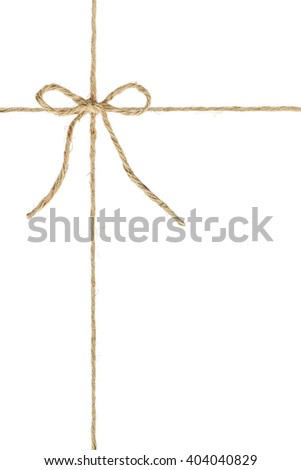 Natural brown jute twine hemp rope, tie a knot / bow in the middle of the cord. Isolated on white background. For multiple layer processing / decorated elements in several photo editor programs. - stock photo