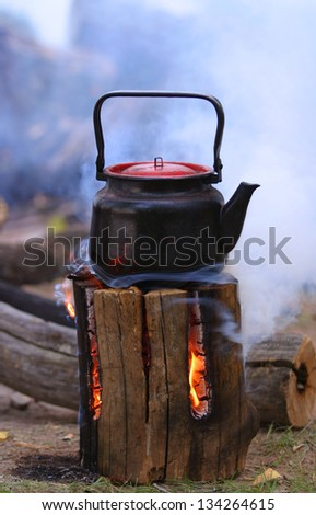 natural burner for cooking kettle is boiling - stock photo