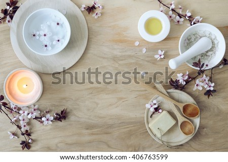 Natural calming colored spa composition, top view - stock photo