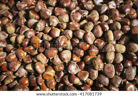 natural chestnuts - stock photo