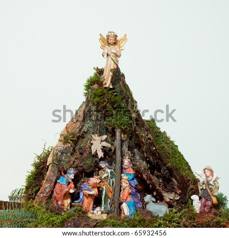 Natural Christmas Crib with white Background - stock photo