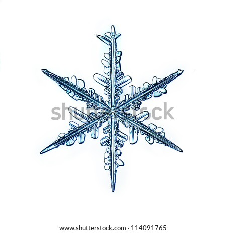 Natural Christmas snowflake isolated on white background for design Christmas gifts - stock photo