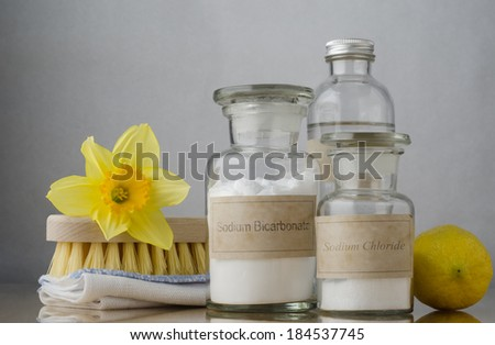 Natural cleaning products, including sodium bicarbonate, salt, white vinegar and lemon, folded cloth, bristle brush and a daffodil to suggest Spring cleaning. - stock photo