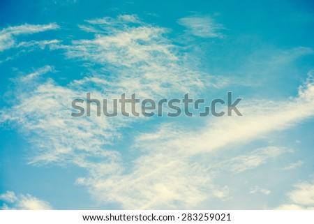 Natural cloud and sky background. Retro filter. - stock photo
