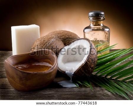 natural coconut walnut oil - stock photo