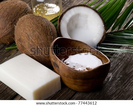 natural coconut walnut oil and soap - stock photo
