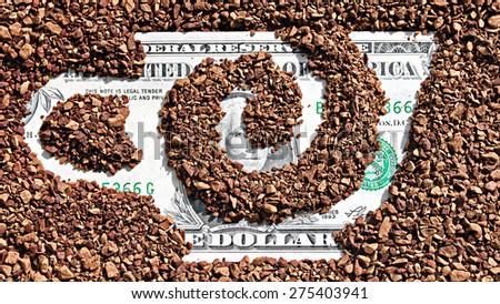 Natural coffee granules  - stock photo