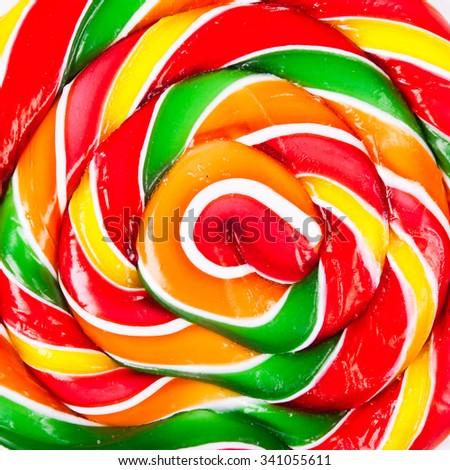 Natural colors, close up of lollipop. Studio shot - stock photo