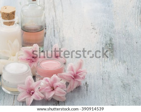 natural cosmetics, fresh as spring flowers - stock photo