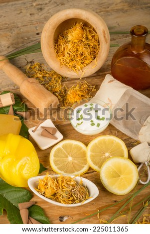 Natural cosmetics with marigold as an ingredient - stock photo