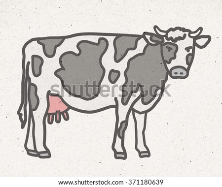 natural cow illustration - stock photo