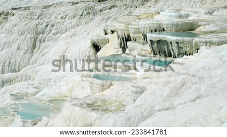 Natural cyan water travertine pools and terraces at ancient Hierapolis, Pamukkale, Turkey  - stock photo
