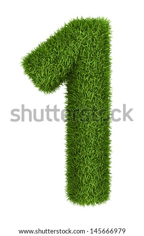 Natural 3d isolated photo realistic grass number 1 - stock photo
