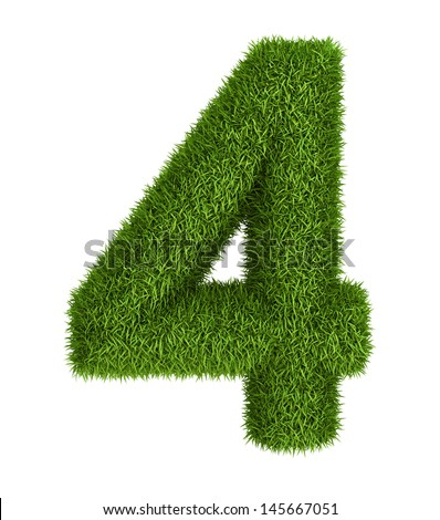 Natural 3d isolated photo realistic grass number 4 - stock photo