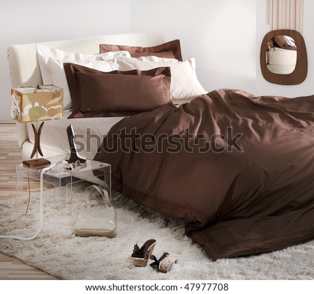 natural decorated bedroom - stock photo