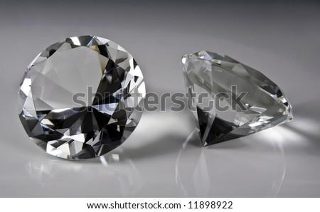 Natural diamonds close-up - stock photo