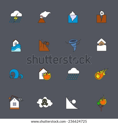 Natural disaster accident environmental catastrophe icons flat line set isolated  illustration - stock photo