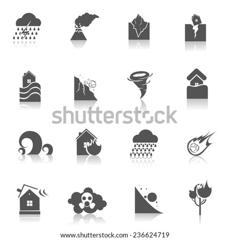 Natural disaster environmental catastrophe icons black set isolated  illustration - stock photo