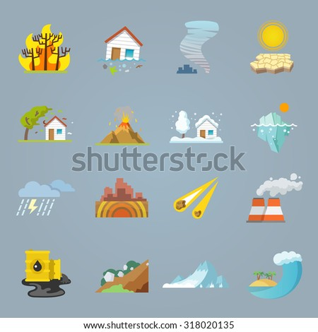 Natural disaster icons flat set with hurricane tornado forest fire isolated  illustration - stock photo