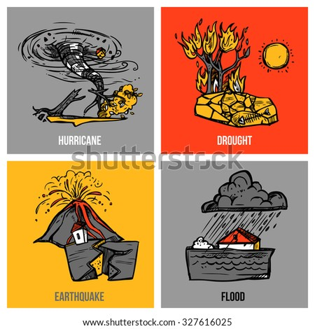 Natural disasters design concept set with hurricane and flood sketch isolated  illustration - stock photo