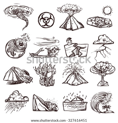 Natural disasters earthquake tsunami volcanic tornado and other cataclysm doodle sketch hand drawn isolated  illustration - stock photo