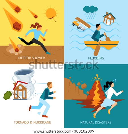 Natural Disasters Safety Design Concept - stock photo