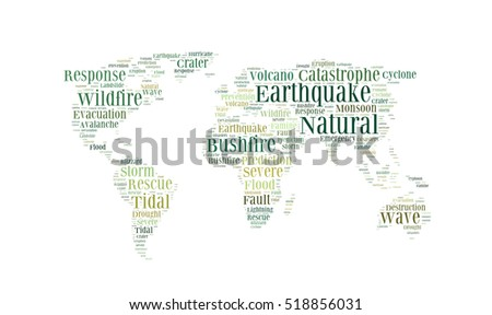 Natural disasters word cloud in the shape of the Earth