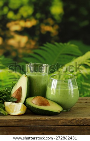 natural drink a smoothie with avocado, herbs and yogurt - stock photo