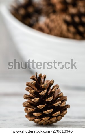 Natural dry pine cones on wooden white table background - stock photo