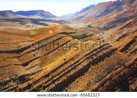 Natural erosion in Atlas Mountains, Africa - stock photo