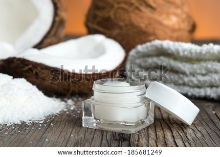 Natural face cream of coconut - stock photo