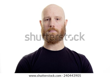 natural face red beard man - stock photo