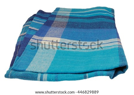 Natural flax table napkin texture, blue textured towel textile pattern detail, large detailed vertical isolated linen macro closeup - stock photo