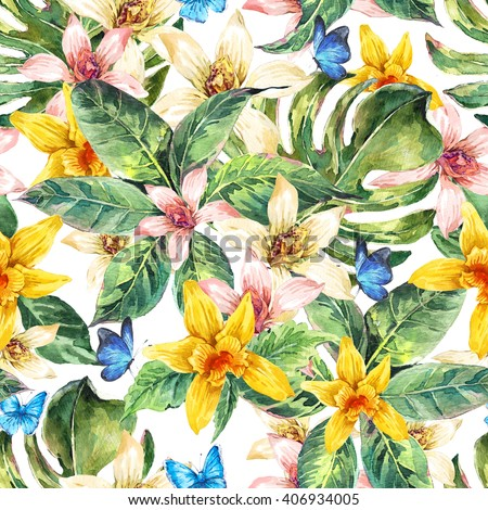 Natural floral leaves exotic watercolor seamless pattern, white and yellow flower orchid, green tropical leaves, butterfly, botanical summer illustration on white background - stock photo