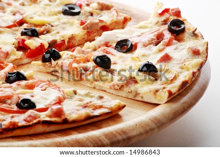 Natural form foods. Fast food Pizza. Shot in a studio. - stock photo