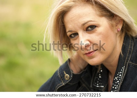 Natural forty years old woman portrait