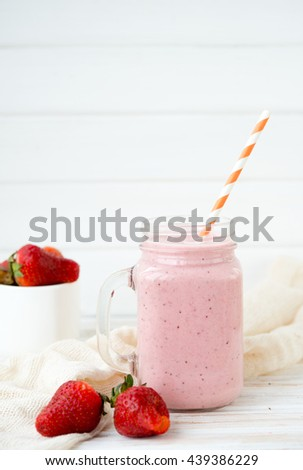 Natural fresh yogurt with fresh strawberry