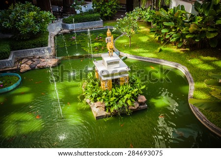 Natural garden landscaping in home - stock photo